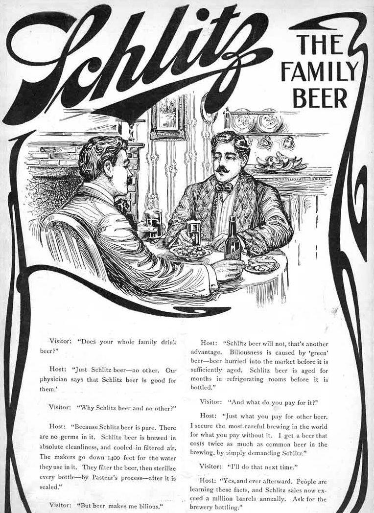 Винтажная реклама пива Schlitz. Сторителлинг